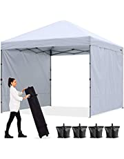 ABCCANOPY Outdoor Easy Pop up Canopy Tent with 2 Sun Wall 10x10, White