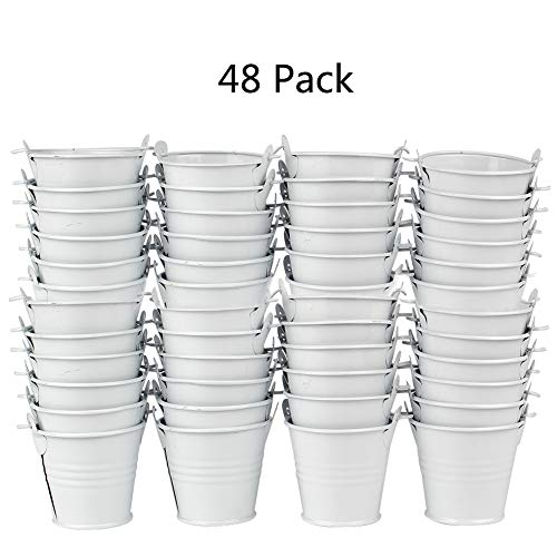 Aparty4u 48pcs White Mini Metal Bucket, Cute Tinplate Tin Pails with Handle for Party Favors Wedding Baby Shower Birthday Party Supplies (White Mini Pails)