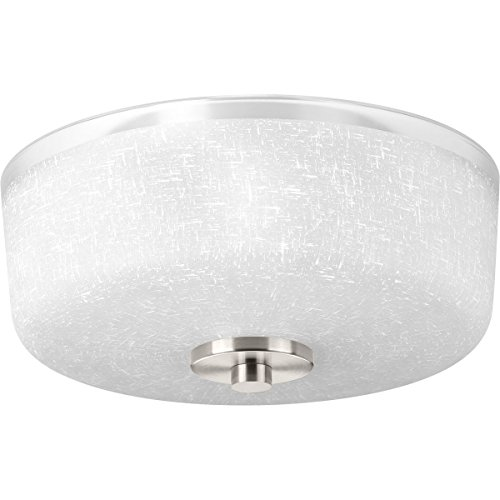 Progress Lighting P3620-09 Alexa Collection Two-Light Flush Mount, Brushed Nickel (Lighting Nickel Collection)