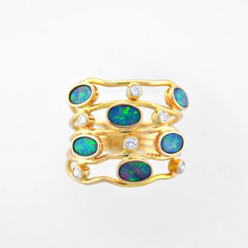 Australian Opal and Diamond Ring 14K Gold Ring Blue Green Opals White Diamonds 14K Yellow Gold Wave Ring April October (14k April Birthstone Ring)