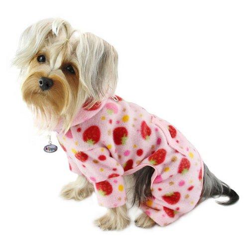 [Yummy Strawberries Fleece Turtleneck Dog Pajamas / Bodysuit Size: Medium] (Turtles Suit)