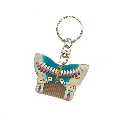 - wood comb Keychain, Key Ring, Bag Hanger Decoration, Purse Charm, Blue