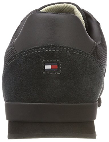 Runner Noir 990 Iconic Basses Hilfiger Textile Tommy Black Sneakers Leather Homme aROwxF