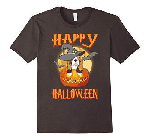 Mens Basset Hound Dog Happy Halloween T-shirt Pumpkin Costumes 3XL Asphalt