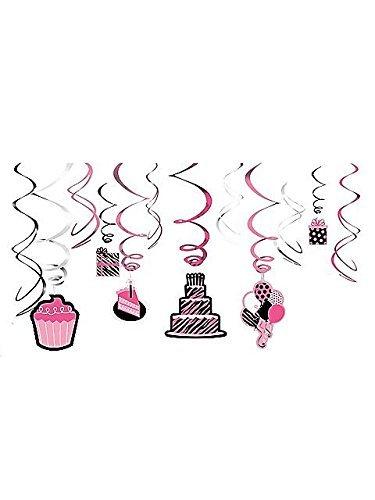Zebra Stripes 'Pink and Black' Animal Print Hanging Swirl Decorations (12pc) -
