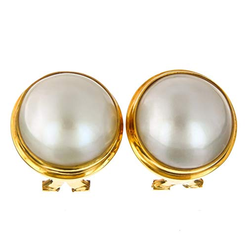 11/16'' White MABE Pearl 24K Gold Vermeil 925 Sterling Silver Omega Post Earrings - Gold Ring Mabe Pearl