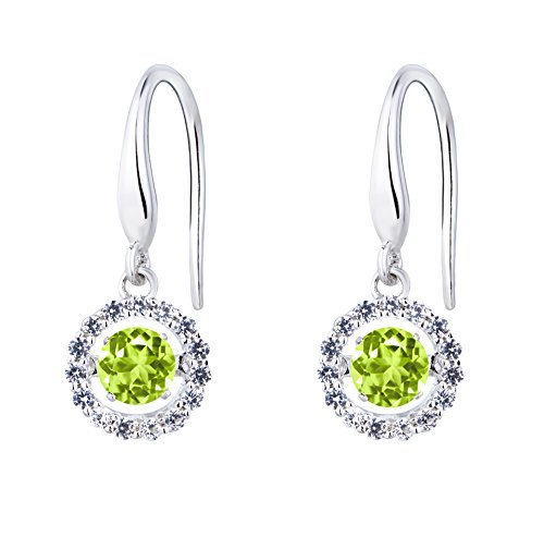 SERAFINA Dangle Earrings, Peridot and White Sapphire Halo | Dancing Gemstones | 925 Sterling Silver | Lab Created Dangling Earrings with Halo for Her