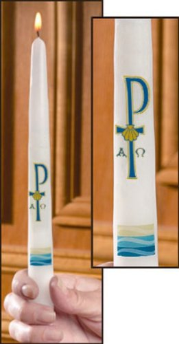 Chi Rho Cross on 10 Inch Taper Candle for Baptismal Ceremony in Gift Box
