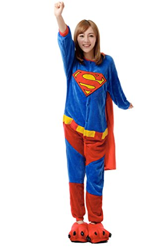 Vimans Onesie Pajamas Adult Unisex Cosplay Pajamas One Piece Superman, S (Superman Adult Onesie)