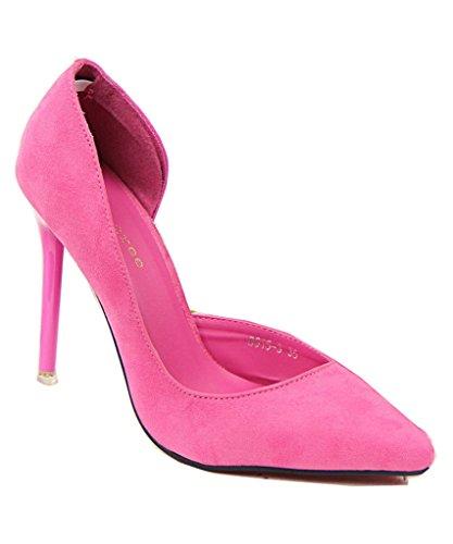 Escarpins De Rose Élégant Pointu Mineroad Chaussures La Aiguille Femme Suède Haut Talon Simple Pompe f5wqAzxO