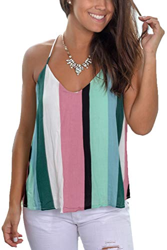 Womens Tops Strappy Summer V Neck Casual Cami Tank Top Green ()
