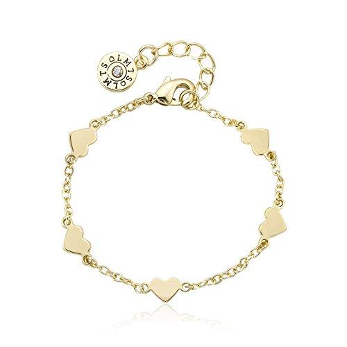 Heart Station Bracelet - Little Miss Twin Stars Classic! 14k Gold-Plated Heart Station Bracelet/, 6.5