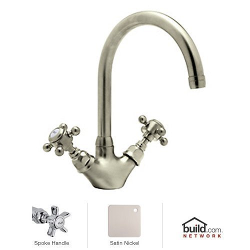Rohl A1466XSTN-2 A1466X-2 Country Kitchen Series Kitchen Faucet with Five Spoke Handles, Satin Nickel by Rohl 5 Spoke Faucet Handles