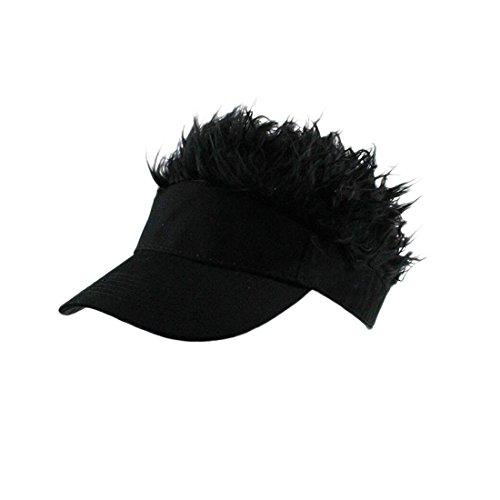 Flair Hair Sun Visor Cap with Fake Hair Wig Baseball Cap Hat