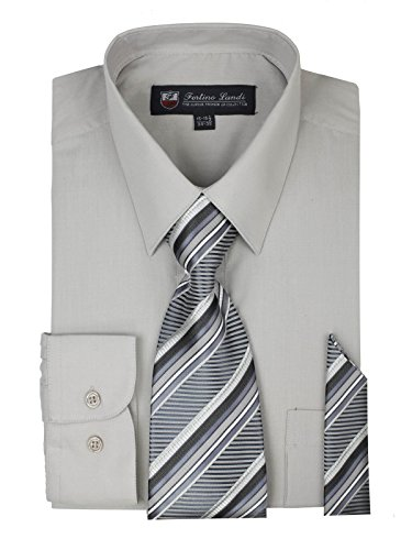 Men's Dress Shirt, Tie & Hanky Set-Ash Gray 2XL (18-18.5) Neck 34/35 Sleeve