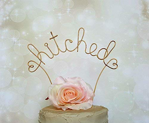 HITCHED Cake Topper in GOLD Finish, Special Events Cake Decoration