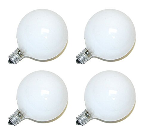 Philips DuraMax 40-Watt G16.5 Decorative Globe E12 Candelabra Base Light Bulbs, Frosted White (4 Pack) - 40w Incandescent Globe