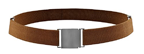 Belt for Kids and Toddlers Elastic Adjustable Strech Boys Belts With Silver Square Buckle (Brown)
