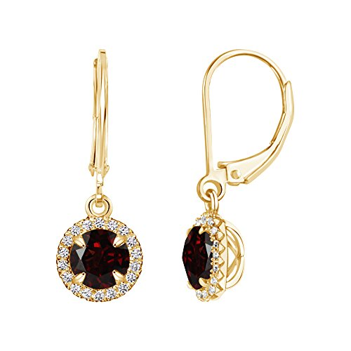 (14k Yellow Gold Plated Round Garnet and Created White Sapphire Halo Leverback Dangle Earrings)