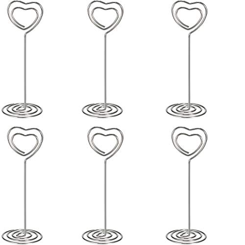 Shappy 24 Pack of Table Number Card Holders Photo Holder Stand Place Card Paper Menu Clips Holders, Heart Shape (Silver) ()
