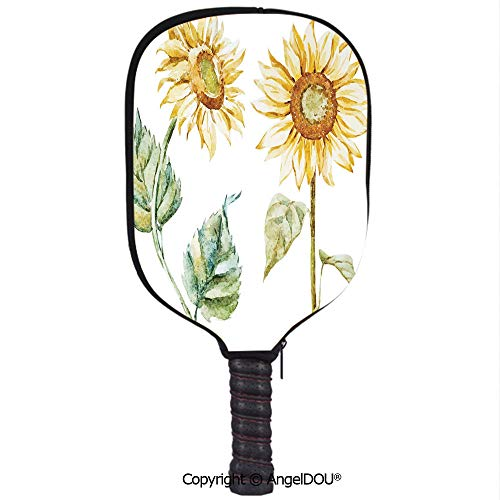 (AngelDOU Watercolor Premium Neoprene Pickleball Paddle/Racket Cover Alluring Sunflowers Summer Inspired Design Agriculture Decorative Holder Sleeve Bag Accessories.Earth Yellow Pale Yellow Fern Green)