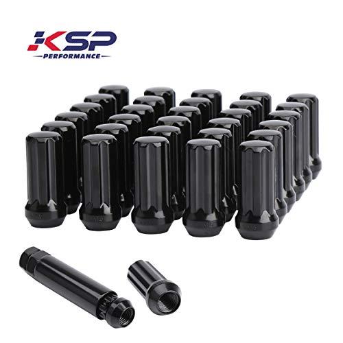 KSP M14x1.5 Wheel Lug Nuts, 32 Pcs 14mm-1.5 Lug Nut 7 Spline 60 Degree Conical Bulge Seat with1 Socket Key Fits 8 Lug Aftermarket Wheels, 1 Year Warranty