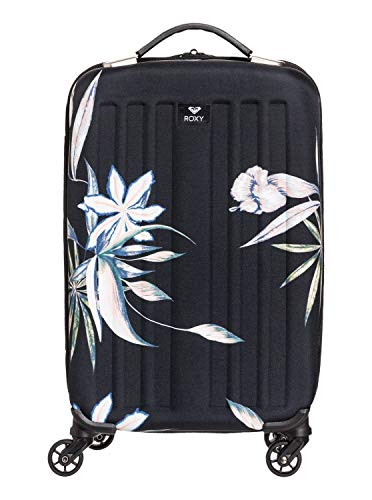 Roxy Roller - Roxy Junior's Stay True Carry On Roller Bag, true black delicate flowers, One Size