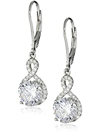 Sterling Silver 7mm Cubic Zirconia Infinity Leverback Dangle Earrings