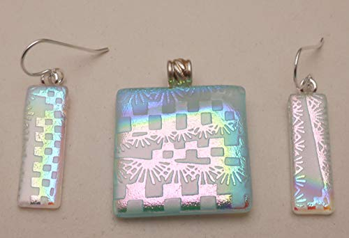 3 pc set White pink blue sandblasted fused dichroic glass pendant earrings Sterling ear wires