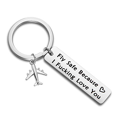 MAOFAED Fly Safe Keychain Pilot Gift Fly Safe Because i Fucking Love You Flight Attendant Gift Traveling Keychain Gift for Flight Staff Airline Worker (Fly Safe Fucking Love You)