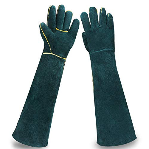 (Animal Protection Gloves, EnPoint Reptile Handling Glove, Strengthened Cowhide Leather Anti Bite/Scratch Long Resistant Bathing Training Gloves for Pet Dog Cat Bird Snake Parrot Lizard Wild Animals)