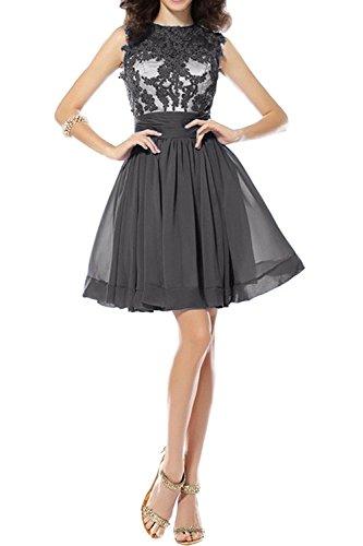 Mini Chiffon Tanzenkleider mia Abendkleider Braut Sommerkleider Kurzes La Spitze Grau Cocktailkleider Partykleider qHXOtt4