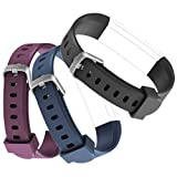 Mini Kitty ID115 U Replacement Wristbands Adjustable Replacement Bands for Activity Tracker ID115 U/ID115 U HR, 3 Colors One Set (Black,Blue,Purple)