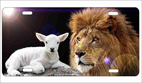 ATD The Lion and The Lamb Personalized Novelty License Plate Custom Decorative Front Plate Customized Vanity Car Tag