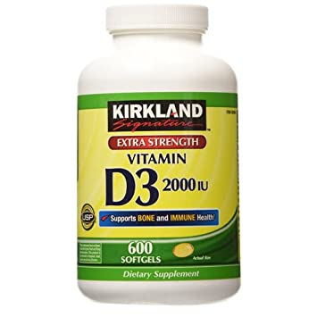 Kirkland Signature Extra Strength Vitamin D3 2000 IU 600 Softgels, Bottle