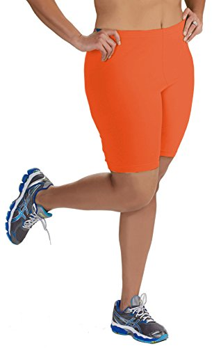 Women's Plus Size Cotton Bike Shorts - Orange - 1X