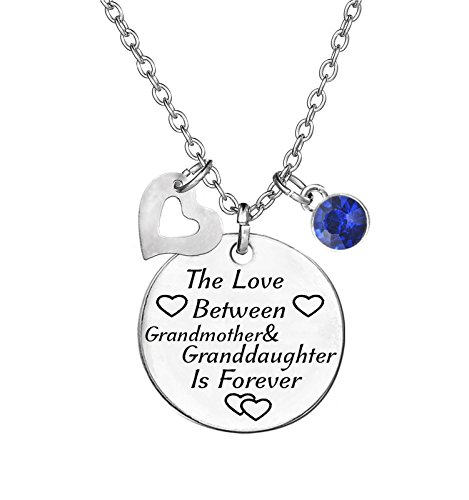 TISDA Birthstone Crystals Necklace,The Love between Grandmother and Granddaughter is Forever Necklace Family Jewelry Christmas Gift (September) by TISDA