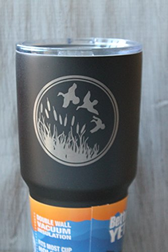Sale-30 Oz. Engraved Textured Black Powder Coated Duck Hunting Tumbler