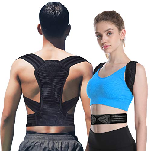 Posture Corrector for Men and Women KarmaRebirth Upgrade Upper Back Brace with Breathable Elastic Material Improves Posture Support Back,Care for Neck,Shoulders and Relieve Upper Back Pain(Size:L)