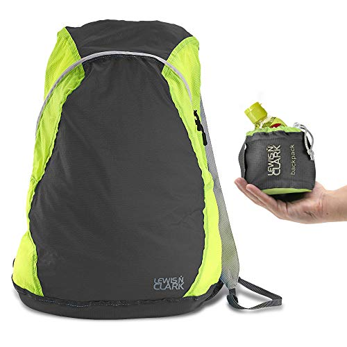 Lewis N Clark ElectroLight Multipurpose Travel Lightweight Backpack for Women + Men Packable Daypack, Hiking Camping, Ditty Bag, Charcoal/Neon ()