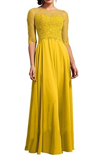 Langes Chiffon Gelb Ballkleider Abendkleider mit Bodenlang Glamour Brautmutterkleider La Braut Marie Spitze q1ataIA