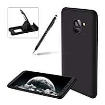 3 in 1 Hard Case for Samsung Galaxy A8 2018,Black Heavy Duty PC Back Cover for Samsung Galaxy A8 2018,Herzzer Stylish Ultra Thin Anti-Scratch Armour Defender Shockproof PC Case
