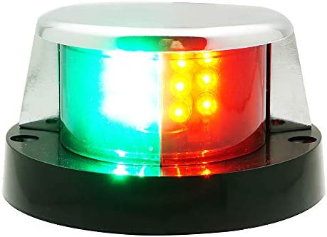 Marine Boat Navigation Bulb Red Green Chrome Plated Housing Bi-color Bow Light