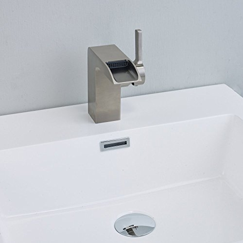 Eviva EVFT93BN Jaida C. Water-Fall Single Handle (Lever) Bathroom Sink Faucet (Brushed Nickel) Combination