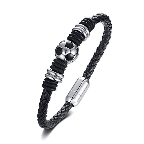 BeautySalon Silver Black Football Beads Charm Leather Bracelet with Magnetic Clasp
