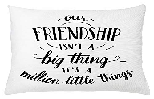 "Ambesonne Saying Throw Pillow Cushion Cover, Heart Warming Text Our Friendship is Not a Big Thing Its Many Little Things, Decorative Rectangle Accent Pillow Case, 26"" X 16"", White Black"