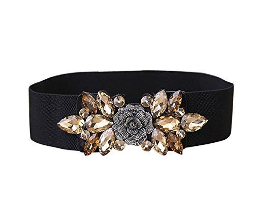 E-Clover Fashion Floral Rhinestone Buckle Women's Elastic Waist Cinch Belt for Dress (Gold01) ()