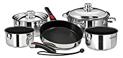 Magma Products A10 366 2 Ind Gourmet Nesting Stainless Steel Induction Cookware Set With Non Stick Ceramica 10 Piece