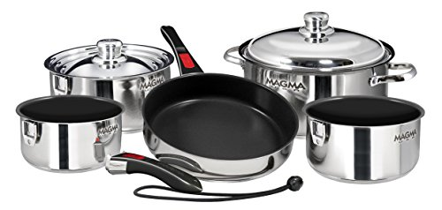 - Magma Products, A10-366-2-IND Gourmet Nesting Stainless Steel Induction Cookware Set with Non-Stick Ceramica (10 Piece)