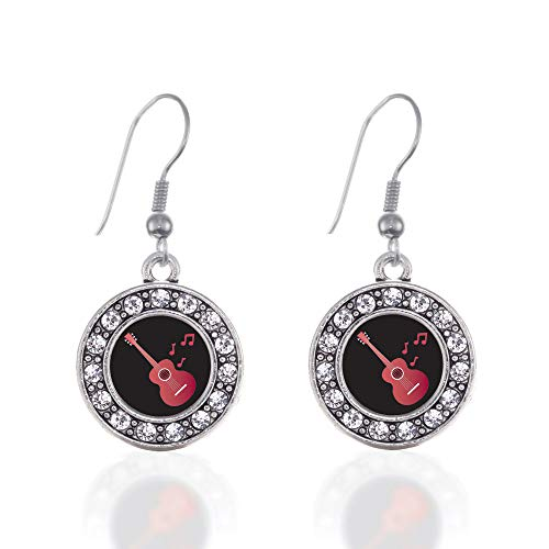 Inspired Silver - Guitar Lovers Charm Earrings for Women - Silver Circle Charm French Hook Drop Earrings with Cubic Zirconia Jewelry